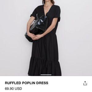 Zara black poplin midi dress NWT